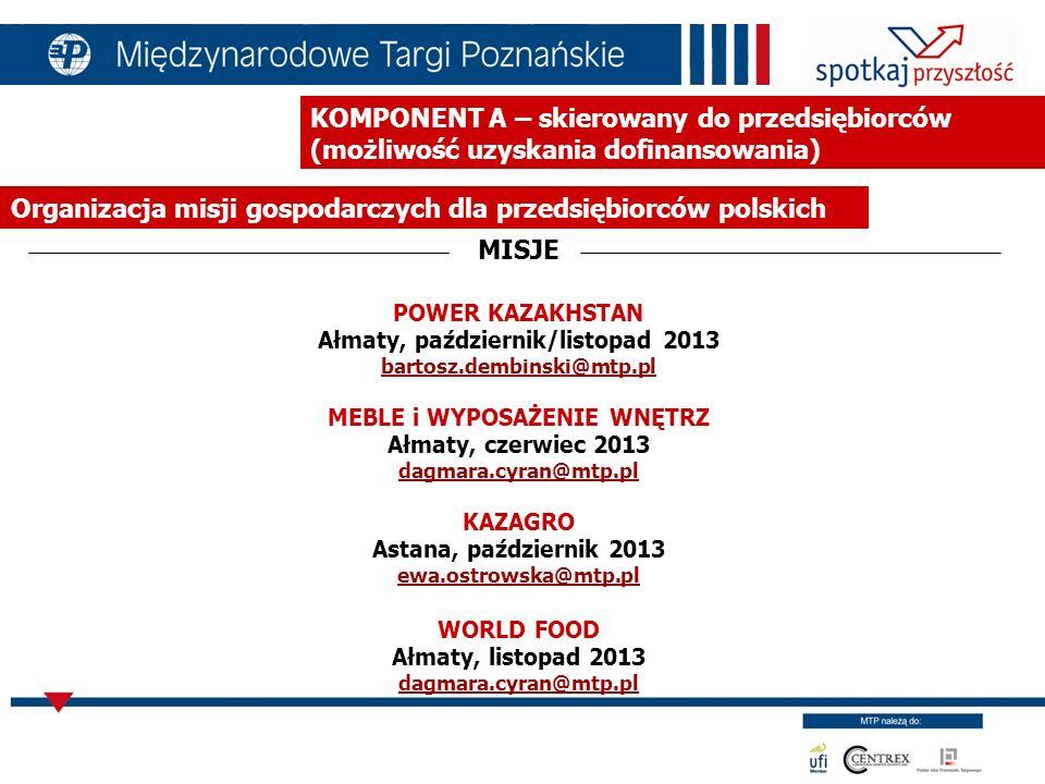KOMPONENT B – realizowany przez Ministerstwo Gospodarki, wsparcie komponentu A Organizacja misji gospodarczych dla przedsiębiorców polskich FORA GOSPODARCZE EUROPA-AZJA.