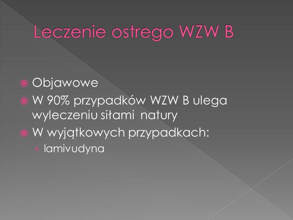 Objawowe W 90% przypadków WZW B ulega wyleczeniu siłami natury W wyjątkowych przypadkach: lamivudyna
