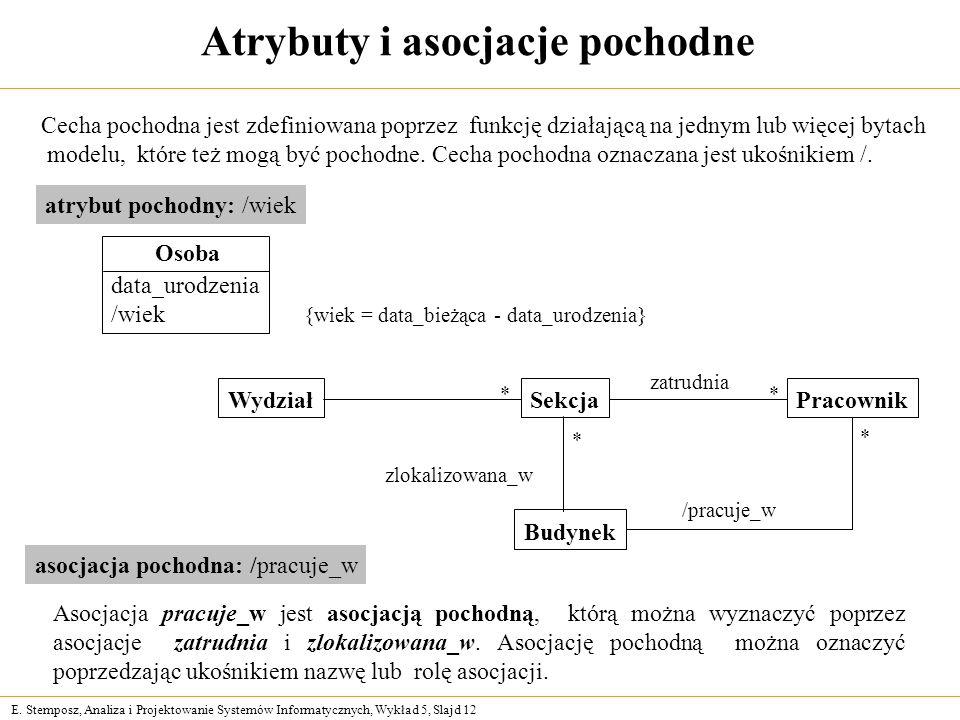 E. Stemposz, Analiza i Projektowanie Systemów Informatycznych, Wykład 5, Slajd 12 Atrybuty i asocjacje pochodne Cecha pochodna jest zdefiniowana poprz