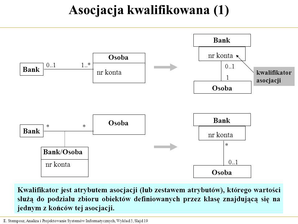 E. Stemposz, Analiza i Projektowanie Systemów Informatycznych, Wykład 5, Slajd 19 Kwalifikator jest atrybutem asocjacji (lub zestawem atrybutów), któr