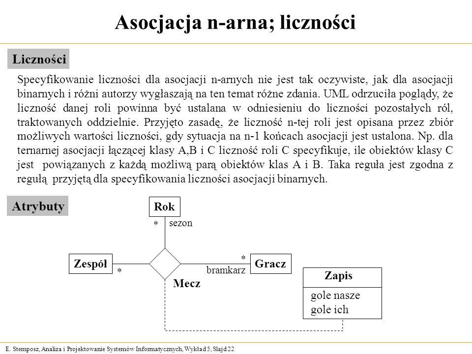 E. Stemposz, Analiza i Projektowanie Systemów Informatycznych, Wykład 5, Slajd 22 Asocjacja n-arna; liczności Liczności Specyfikowanie liczności dla a