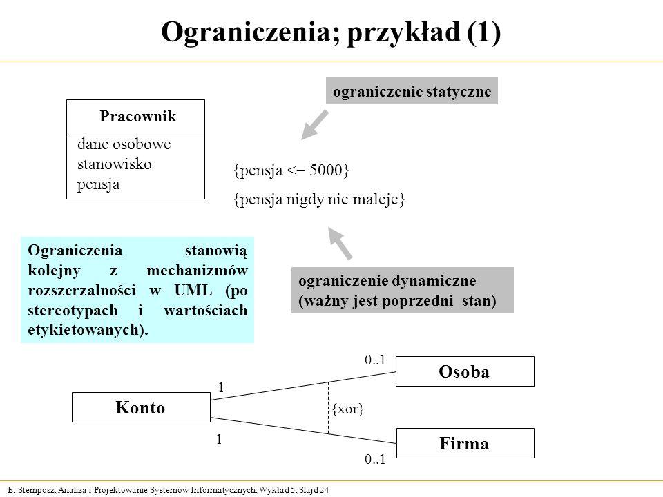 E. Stemposz, Analiza i Projektowanie Systemów Informatycznych, Wykład 5, Slajd 24 Ograniczenia; przykład (1) Konto Firma Osoba {xor} 0..1 Pracownik da