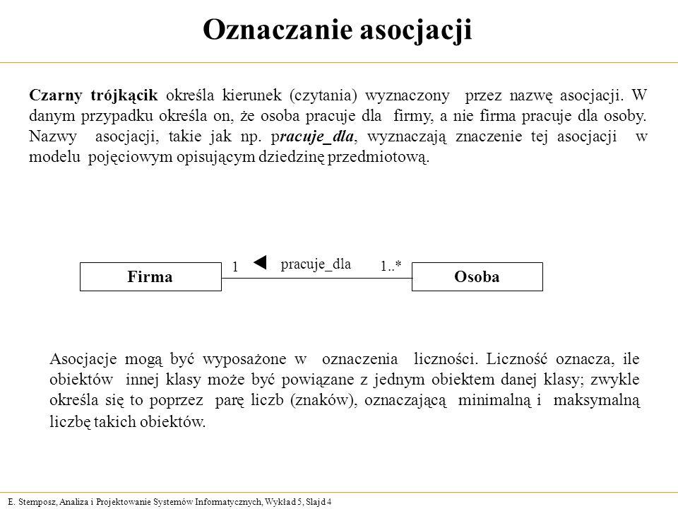 E. Stemposz, Analiza i Projektowanie Systemów Informatycznych, Wykład 5, Slajd 4 Oznaczanie asocjacji Czarny trójkącik określa kierunek (czytania) wyz