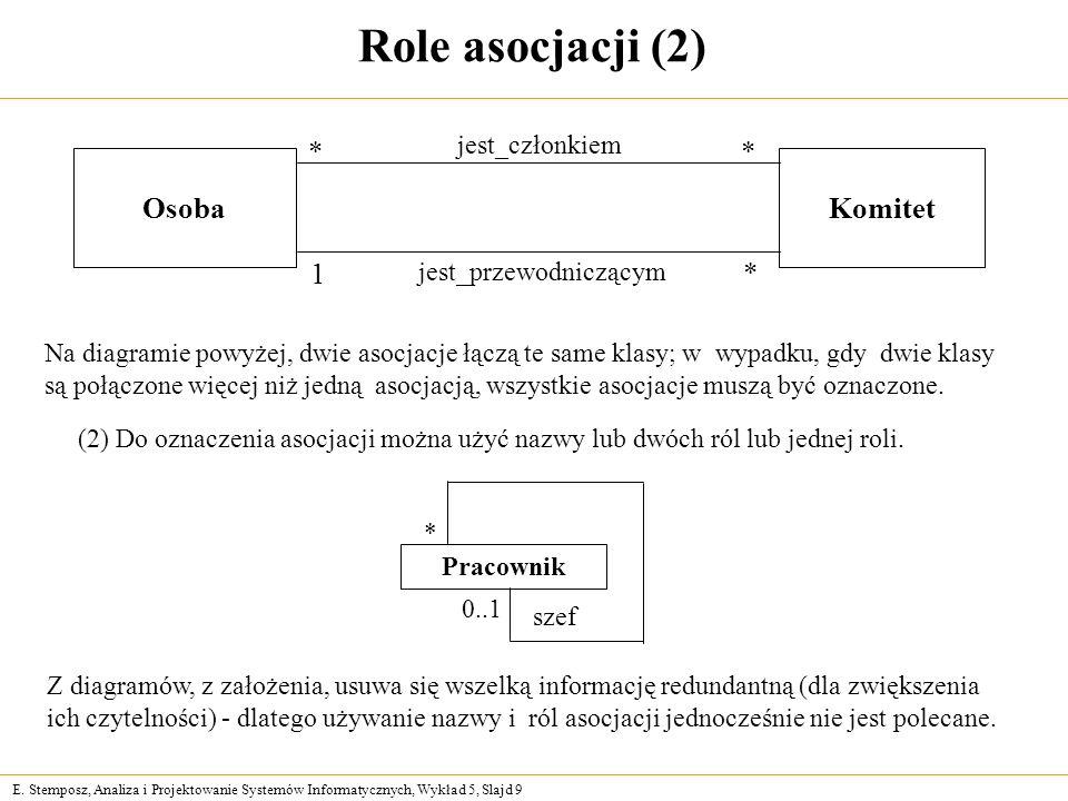 E. Stemposz, Analiza i Projektowanie Systemów Informatycznych, Wykład 5, Slajd 9 Role asocjacji (2) Osoba Komitet jest_członkiem ** jest_przewodnicząc