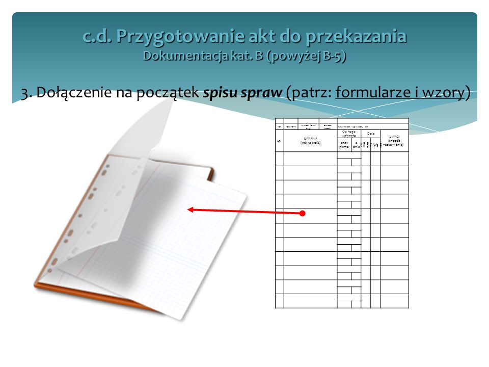 3. Dołączenie na początek spisu spraw (patrz: formularze i wzory) c.d. Przygotowanie akt do przekazania Dokumentacja kat. B (powyżej B-5) rokreferent