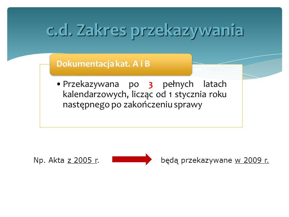 Przekazywana po 3 pełnych latach kalendarzowych, licząc od 1 stycznia roku następnego po zakończeniu sprawy Dokumentacja kat. A i B c.d. Zakres przeka