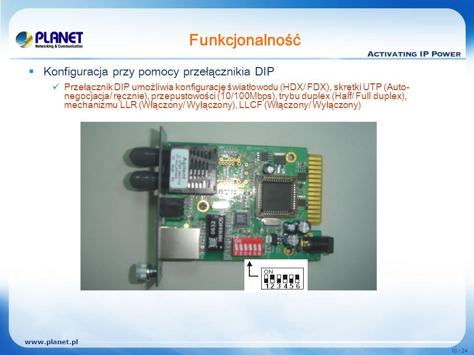 www.planet.pl 10 / 24 Funkcjonalność Konfiguracja przy pomocy przełącznikia DIP Przełącznik DIP umożliwia konfigurację światłowodu (HDX/ FDX), skrętki UTP (Auto- negocjacja/ ręcznie), przepustowości (10/100Mbps), trybu duplex (Half/ Full duplex), mechanizmu LLR (Włączony/ Wyłączony), LLCF (Włączony/ Wyłączony)