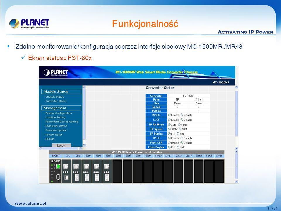 www.planet.pl 11 / 24 Funkcjonalność Zdalne monitorowanie/konfiguracja poprzez interfejs sieciowy MC-1600MR /MR48 Ekran statusu FST-80x