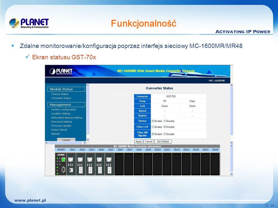 www.planet.pl 12 / 24 Funkcjonalność Zdalne monitorowanie/konfiguracja poprzez interfejs sieciowy MC-1600MR/MR48 Ekran statusu GST-70x