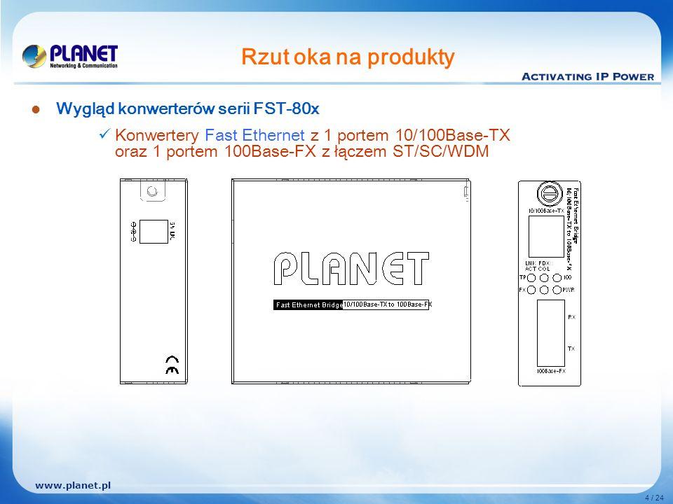 www.planet.pl 4 / 24 Rzut oka na produkty Wygląd konwerterów serii FST-80x Konwertery Fast Ethernet z 1 portem 10/100Base-TX oraz 1 portem 100Base-FX z łączem ST/SC/WDM