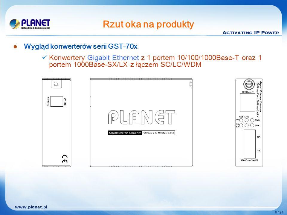 www.planet.pl 6 / 24 Rzut oka na produkty Wygląd konwerterów serii GST-70x Konwertery Gigabit Ethernet z 1 portem 10/100/1000Base-T oraz 1 portem 1000Base-SX/LX z łączem SC/LC/WDM