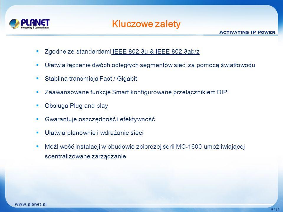 www.planet.pl 8 / 24 Kluczowe zalety Zgodne ze standardami IEEE 802.3u & IEEE 802.3ab/z Ułatwia łączenie dwóch odległych segmentów sieci za pomocą światłowodu Stabilna transmisja Fast / Gigabit Zaawansowane funkcje Smart konfigurowane przełącznikiem DIP Obsługa Plug and play Gwarantuje oszczędność i efektywność Ułatwia planownie i wdrażanie sieci Możliwość instalacji w obudowie zbiorczej serii MC-1600 umożliwiającej scentralizowane zarządzanie
