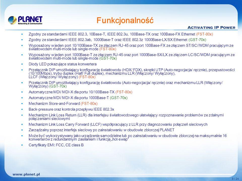 www.planet.pl 9 / 24 Funkcjonalność Zgodny ze standardami IEEE 802.3, 10Base-T, IEEE 802.3u, 100Base-TX oraz 100Base-FX Ethernet (FST-80x) Zgodny ze standardami IEEE 802.3ab, 1000Base-T oraz IEEE 802.3z 1000Base-LX/SX Ethernet (GST-70x) Wyposażony w jeden port 10/100Base-TX ze złączem RJ-45 oraz port 100Base-FX ze złączem ST/SC//WDM pracującym ze światłowodem multi-mode lub single-mode (FST-80x) Wyposażony w jeden port 1000Base-T ze złączem RJ-45 oraz port 1000Base-SX/LX ze złączem LC/SC/WDM pracującym ze światłowodem multi-mode lub single-mode (GST-70x) Diody LED pokazujące status konwertera Przełącznik DIP umożliwiający konfigurację światłowodu (HDX/ FDX), skrętki UTP (Auto-negocjacja/ ręcznie), przepustowości (10/100Mbps), trybu duplex (Half/ Full duplex), mechanizmu LLR (Włączony/ Wyłączony), LLCF (Włączony/ Wyłączony) (FST-80x) Przełącznik DIP umożliwiający konfigurację światłowodu (Auto-negocjacja/ ręcznie) oraz mechanizmu LLR (Włączony/ Wyłączony) (GST-70x) Automatyczne MDI/ MDI-X dla portu 10/100Base-TX (FST-80x) Automatyczne MDI/ MDI-X dla portu 1000Base-T (GST-70x) Mechanizm Store-and-Forward (FST-80x) Back-pressure oraz kontrola przepływu IEEE 802.3x Mechanizm Link Loss Return (LLR) dla interfejsu światłowodowego ułatwiający rozpoznawanie problemów ze zdalnymi połączeniami sieciowymi Mechanizm Link Loss Carry Forward (LLCF) współpracujący z LLR przy diagnozowaniu połączeń sieciowych Zarządzalny poprzez interfejs sieciowy po zainstalowaniu w obudowie zbiorczej PLANET Może być wykorzystywany jako urządzenie samodzielne lub po zainstalowaniu w obudowie zbiorczej na maksymalnie 16 konwerterów z redundantnym zasilaniem i funkcją hot-swap Certyfikaty EMI: FCC, CE class B