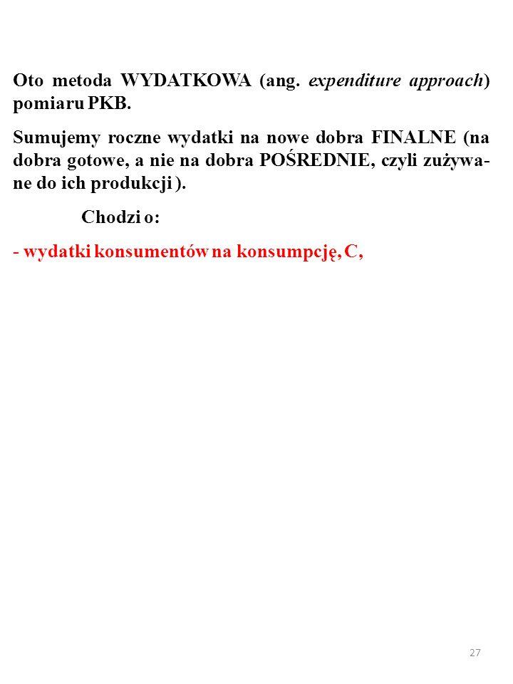 26 Oto metoda WYDATKOWA (ang.expenditure approach) pomiaru PKB.