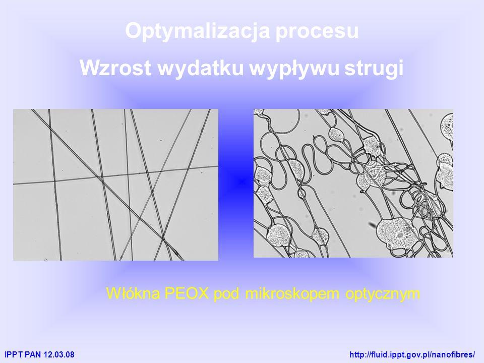 IPPT PAN 12.03.08 http://fluid.ippt.gov.pl/nanofibres/ Optymalizacja procesu Wzrost wydatku wypływu strugi Włókna PEOX pod mikroskopem optycznym