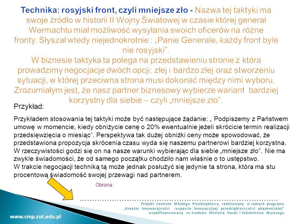 www.cmp.zut.edu.pl Projekt Centrum Młodego Przedsiębiorcy realizowany w ramach programu Kreator Innowacyjności -wsparcie innowacyjnej przedsiębiorczoś