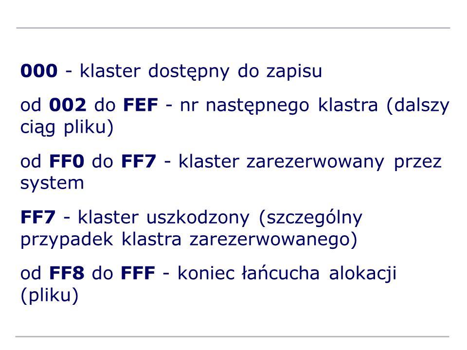 000 - klaster dostępny do zapisu od 002 do FEF - nr następnego klastra (dalszy ciąg pliku) od FF0 do FF7 - klaster zarezerwowany przez system FF7 - kl