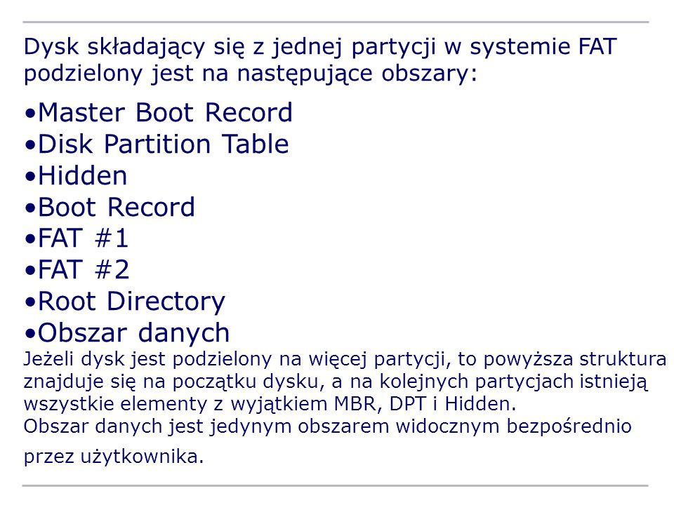 Dysk składający się z jednej partycji w systemie FAT podzielony jest na następujące obszary: Master Boot Record Disk Partition Table Hidden Boot Recor