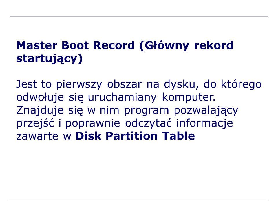 Master Boot Record (Główny rekord startujący) Jest to pierwszy obszar na dysku, do którego odwołuje się uruchamiany komputer. Znajduje się w nim progr