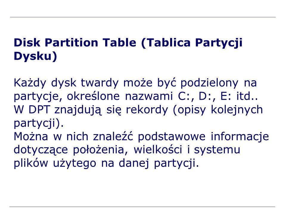Disk Partition Table (Tablica Partycji Dysku) Każdy dysk twardy może być podzielony na partycje, określone nazwami C:, D:, E: itd.. W DPT znajdują się