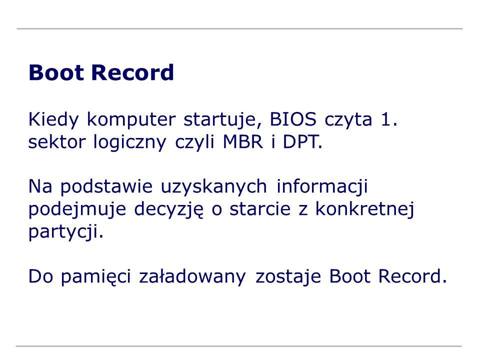 Boot Record Kiedy komputer startuje, BIOS czyta 1. sektor logiczny czyli MBR i DPT. Na podstawie uzyskanych informacji podejmuje decyzję o starcie z k