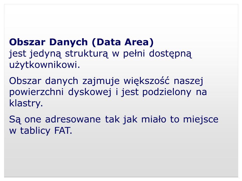 Obszar Danych (Data Area) jest jedyną strukturą w pełni dostępną użytkownikowi. Obszar danych zajmuje większość naszej powierzchni dyskowej i jest pod