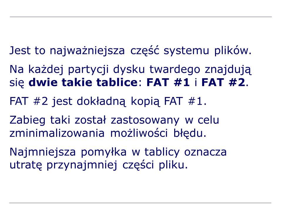Jest to najważniejsza część systemu plików. Na każdej partycji dysku twardego znajdują się dwie takie tablice: FAT #1 i FAT #2. FAT #2 jest dokładną k