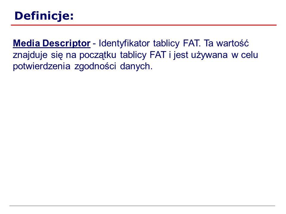 Definicje: Media Descriptor - Identyfikator tablicy FAT. Ta wartość znajduje się na początku tablicy FAT i jest używana w celu potwierdzenia zgodności