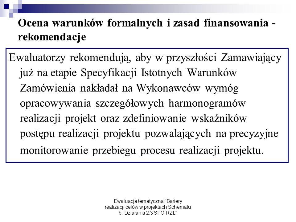 Ewaluacja tematyczna Bariery realizacji celów w projektach Schematu b.