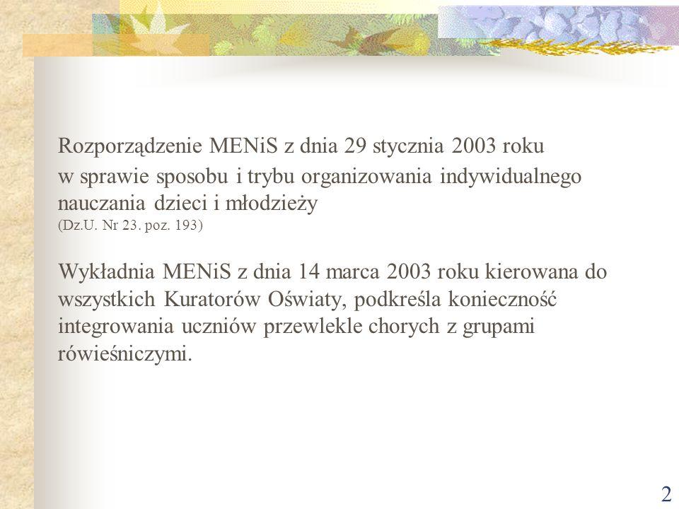 2 Rozporządzenie MENiS z dnia 29 stycznia 2003 roku w sprawie sposobu i trybu organizowania indywidualnego nauczania dzieci i młodzieży (Dz.U. Nr 23.