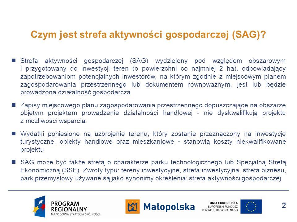 Strefa aktywności gospodarczej (SAG) wydzielony pod względem obszarowym i przygotowany do inwestycji teren (o powierzchni co najmniej 2 ha), odpowiada