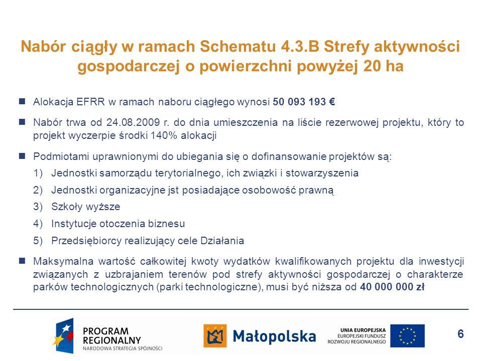 Alokacja EFRR w ramach naboru ciągłego wynosi 50 093 193 Nabór trwa od 24.08.2009 r. do dnia umieszczenia na liście rezerwowej projektu, który to proj