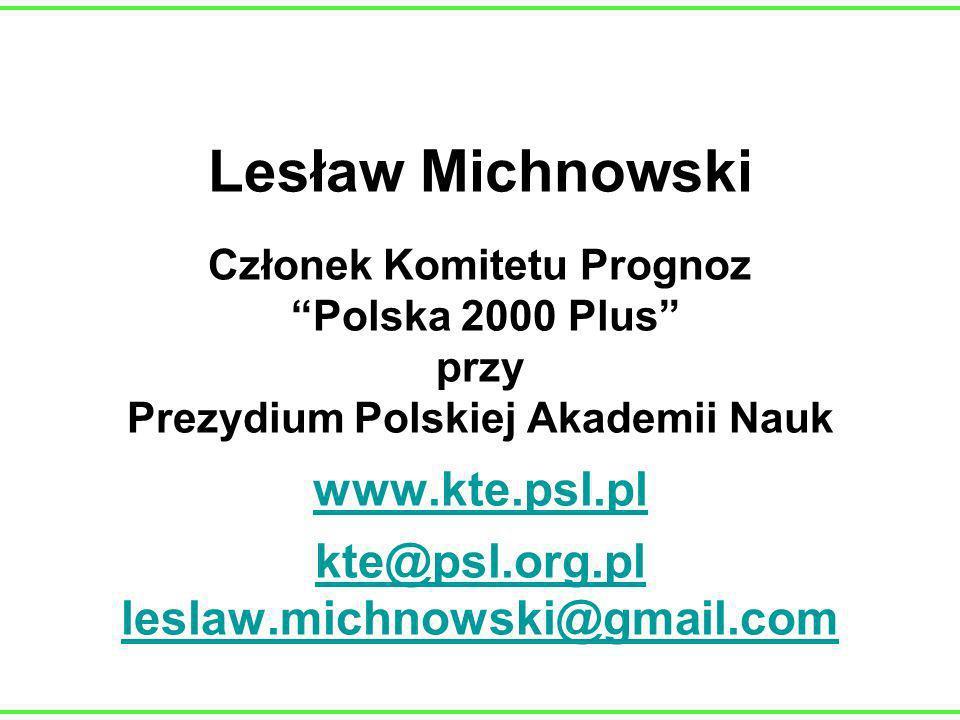 Lesław Michnowski Członek Komitetu Prognoz Polska 2000 Plus przy Prezydium Polskiej Akademii Nauk www.kte.psl.pl kte@psl.org.pl leslaw.michnowski@gmail.com www.kte.psl.pl kte@psl.org.pl leslaw.michnowski@gmail.com