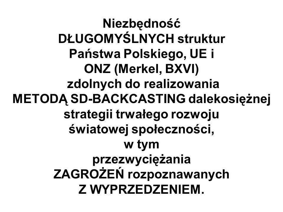 Niezbędność DŁUGOMYŚLNYCH struktur Państwa Polskiego, UE i ONZ (Merkel, BXVI) zdolnych do realizowania METODĄ SD-BACKCASTING dalekosiężnej strategii trwałego rozwoju światowej społeczności, w tym przezwyciężania ZAGROŻEŃ rozpoznawanych Z WYPRZEDZENIEM.