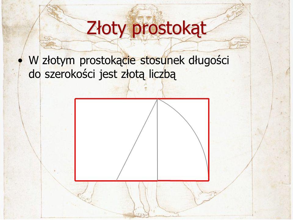 Złoty prostokąt W złotym prostokącie stosunek długości do szerokości jest złotą liczbą