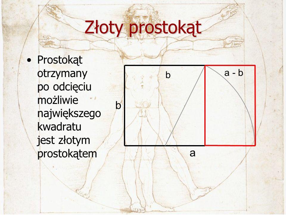 Złoty prostokąt Prostokąt otrzymany po odcięciu możliwie największego kwadratu jest złotym prostokątem b a b a - b