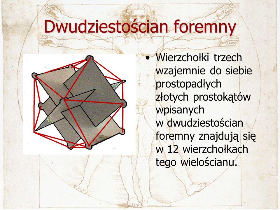 Dwudziestościan foremny Wierzchołki trzech wzajemnie do siebie prostopadłych złotych prostokątów wpisanych w dwudziestościan foremny znajdują się w 12