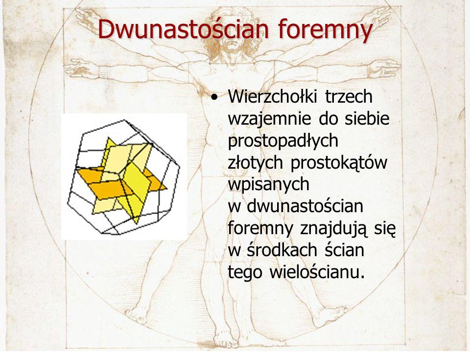 Dwunastościan foremny Wierzchołki trzech wzajemnie do siebie prostopadłych złotych prostokątów wpisanych w dwunastościan foremny znajdują się w środka