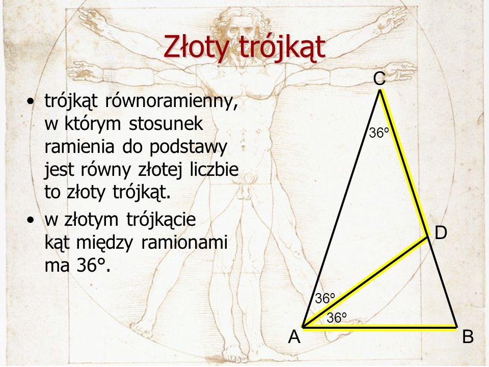 Złoty trójkąt trójkąt równoramienny, w którym stosunek ramienia do podstawy jest równy złotej liczbie to złoty trójkąt. w złotym trójkącie kąt między