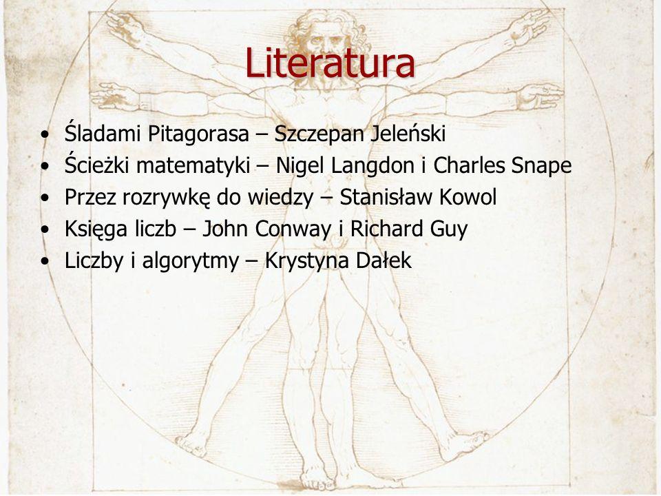 Literatura Śladami Pitagorasa – Szczepan Jeleński Ścieżki matematyki – Nigel Langdon i Charles Snape Przez rozrywkę do wiedzy – Stanisław Kowol Księga