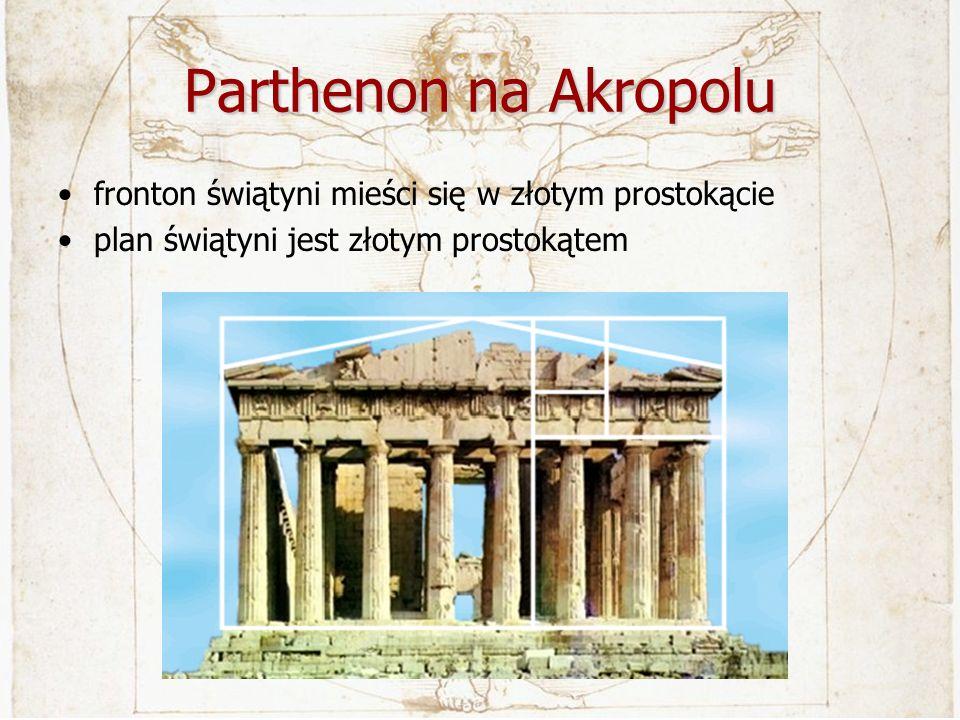 Parthenon na Akropolu fronton świątyni mieści się w złotym prostokącie plan świątyni jest złotym prostokątem