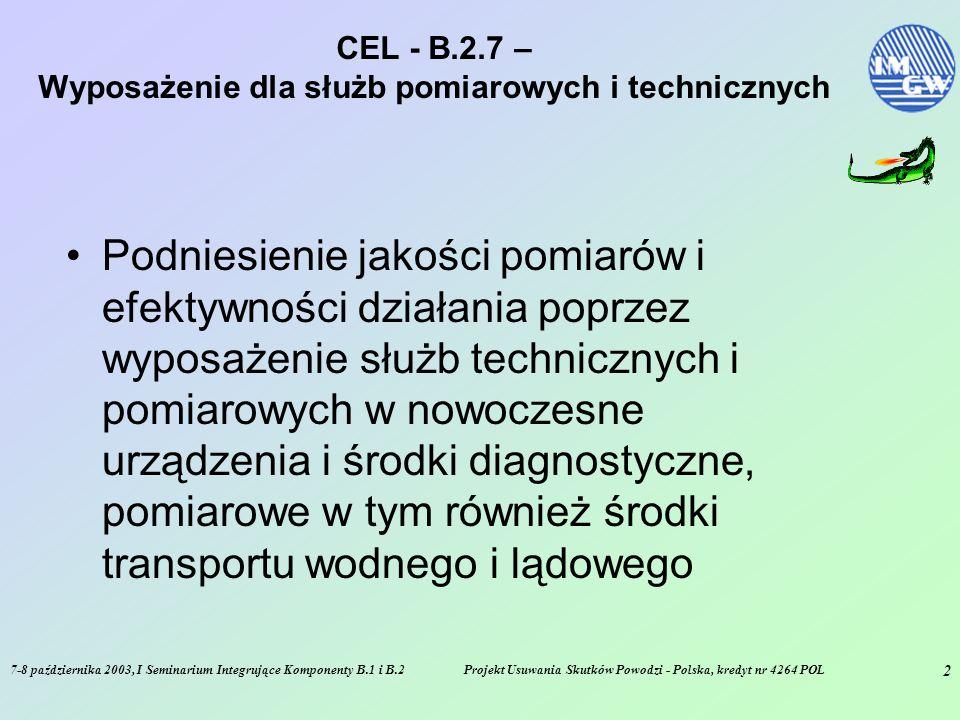 7-8 października 2003, I Seminarium Integrujące Komponenty B.1 i B.2Projekt Usuwania Skutków Powodzi - Polska, kredyt nr 4264 POL 2 CEL - B.2.7 – Wyposażenie dla służb pomiarowych i technicznych Podniesienie jakości pomiarów i efektywności działania poprzez wyposażenie służb technicznych i pomiarowych w nowoczesne urządzenia i środki diagnostyczne, pomiarowe w tym również środki transportu wodnego i lądowego