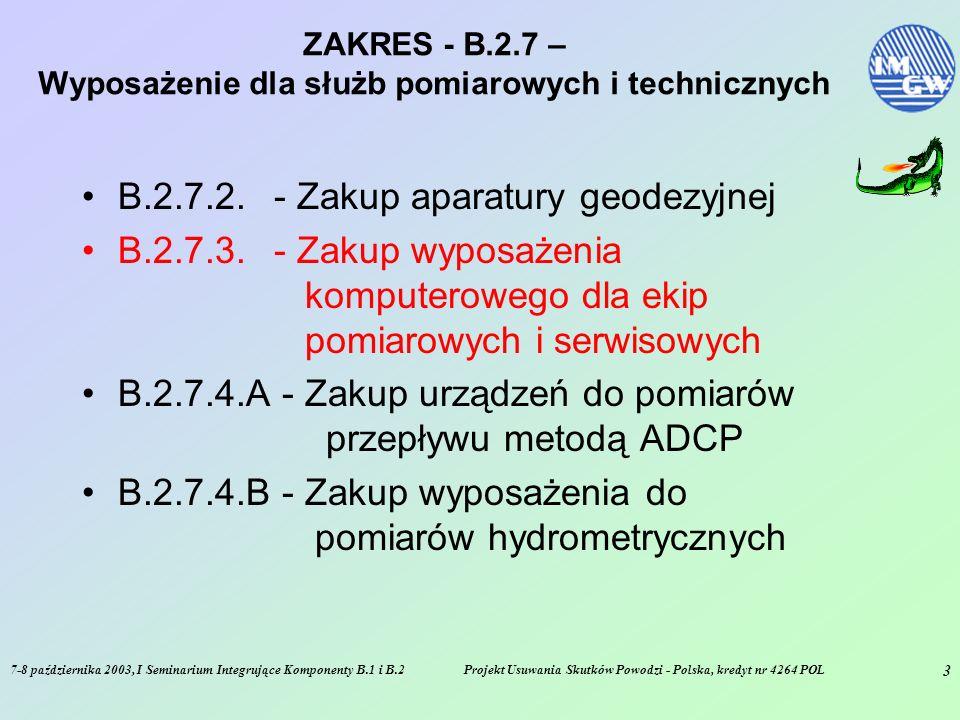 7-8 października 2003, I Seminarium Integrujące Komponenty B.1 i B.2Projekt Usuwania Skutków Powodzi - Polska, kredyt nr 4264 POL 3 ZAKRES - B.2.7 – Wyposażenie dla służb pomiarowych i technicznych B.2.7.2.