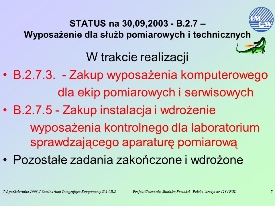 7-8 października 2003, I Seminarium Integrujące Komponenty B.1 i B.2Projekt Usuwania Skutków Powodzi - Polska, kredyt nr 4264 POL 7 STATUS na 30,09,2003 - B.2.7 – Wyposażenie dla służb pomiarowych i technicznych W trakcie realizacji B.2.7.3.