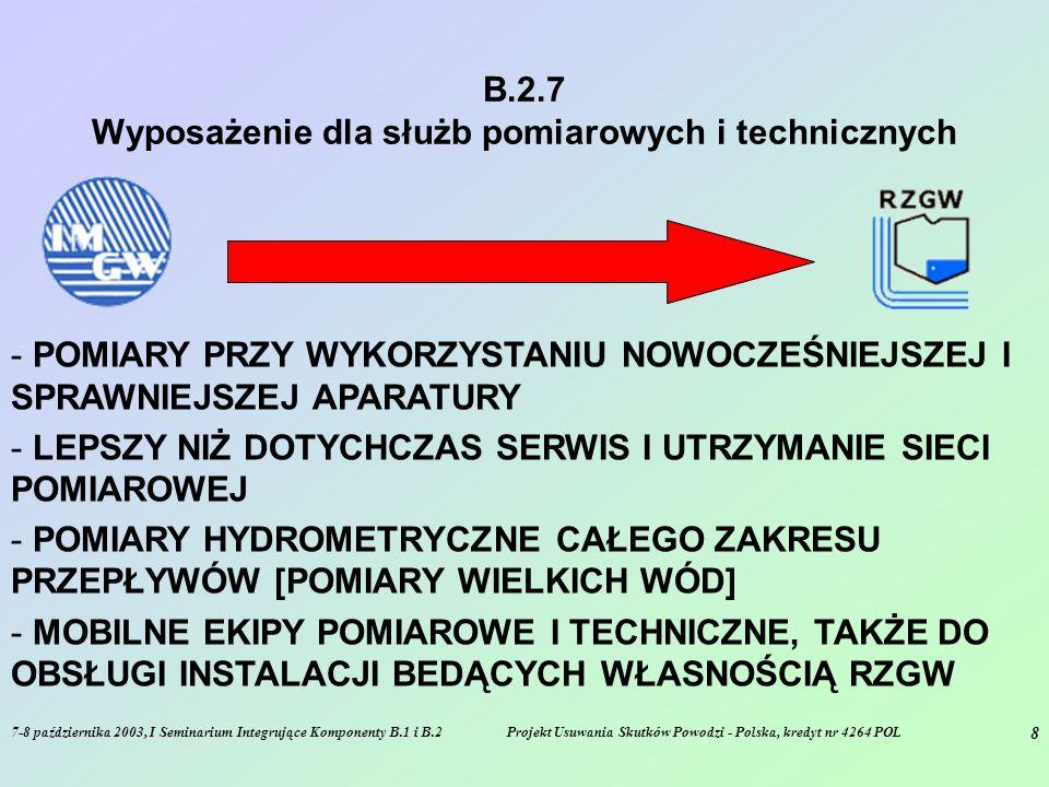 7-8 października 2003, I Seminarium Integrujące Komponenty B.1 i B.2Projekt Usuwania Skutków Powodzi - Polska, kredyt nr 4264 POL 8 B.2.7 Wyposażenie dla służb pomiarowych i technicznych - POMIARY PRZY WYKORZYSTANIU NOWOCZEŚNIEJSZEJ I SPRAWNIEJSZEJ APARATURY - LEPSZY NIŻ DOTYCHCZAS SERWIS I UTRZYMANIE SIECI POMIAROWEJ - POMIARY HYDROMETRYCZNE CAŁEGO ZAKRESU PRZEPŁYWÓW [POMIARY WIELKICH WÓD] - MOBILNE EKIPY POMIAROWE I TECHNICZNE, TAKŻE DO OBSŁUGI INSTALACJI BEDĄCYCH WŁASNOŚCIĄ RZGW