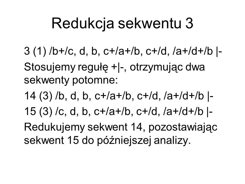 Redukcja sekwentu 3 3 (1) /b+/c, d, b, c+/a+/b, c+/d, /a+/d+/b |- Stosujemy regułę +|-, otrzymując dwa sekwenty potomne: 14 (3) /b, d, b, c+/a+/b, c+/d, /a+/d+/b |- 15 (3) /c, d, b, c+/a+/b, c+/d, /a+/d+/b |- Redukujemy sekwent 14, pozostawiając sekwent 15 do późniejszej analizy.