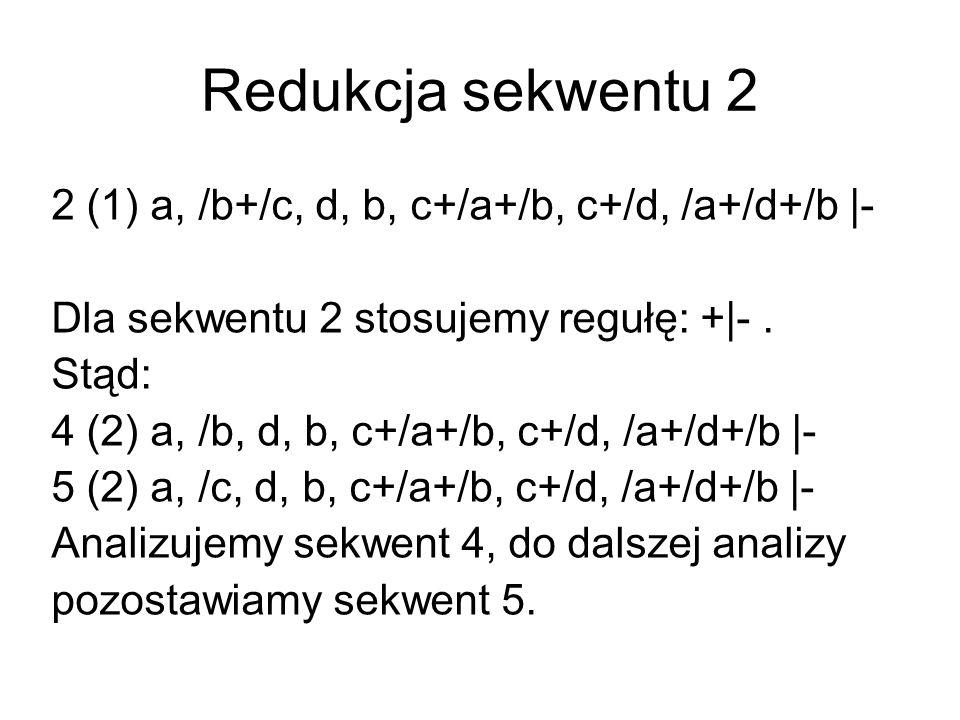 Redukcja sekwentu 2 2 (1) a, /b+/c, d, b, c+/a+/b, c+/d, /a+/d+/b |- Dla sekwentu 2 stosujemy regułę: +|-.