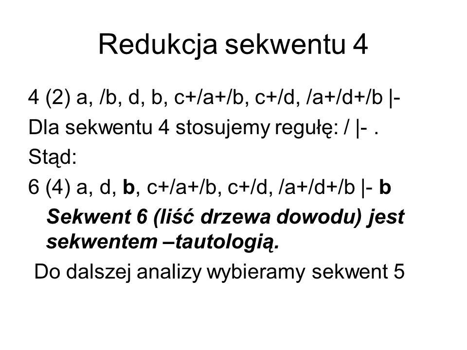 Redukcja sekwentu 4 4 (2) a, /b, d, b, c+/a+/b, c+/d, /a+/d+/b |- Dla sekwentu 4 stosujemy regułę: / |-.