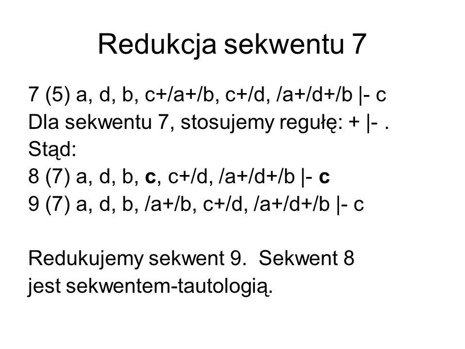 Redukcja sekwentu 9 9 (7) a, d, b, /a+/b, c+/d, /a+/d+/b |- c Wykorzystujemy regułę + |-, otrzymując: 10 (9) a, d, b, /a, c+/d, /a+/d+/b |- c 11 (9) a, d, b, /b, c+/d, /a+/d+/b |- c W następnym kroku redukujemy sekwent 10, natomiast sekwent 11 będzie analizowany póżniej.