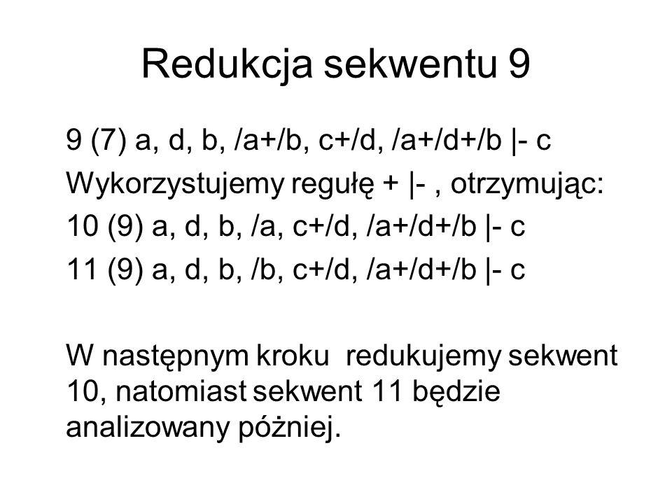 Redukcja sekwentu 10 10 (9) a, d, b, /a, c+/d, /a+/d+/b |- c Stosujemy regułę / |-, otrzymując: 12 (10) a, d, b, c+/d, /a+/d+/b |- c, a Sekwent 12 jest sekwentem tautologią.